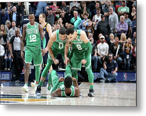 Nba Pro Basketball Metal Print featuring the photograph Shane Larkin, Jaylen Brown, and Jayson Tatum by Melissa Majchrzak