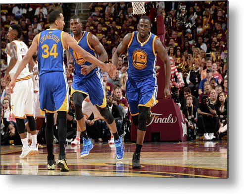 Playoffs Metal Print featuring the photograph Shaun Livingston and Draymond Green by Andrew D. Bernstein