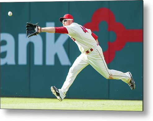 People Metal Print featuring the photograph Skip Schumaker and Brandon Moss by Jason Miller