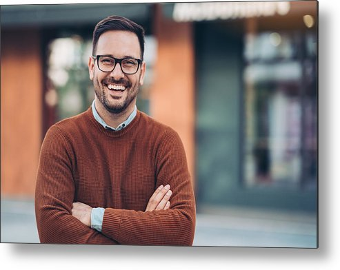 Bulgaria Metal Print featuring the photograph Smiling man outdoors in the city by Pixelfit