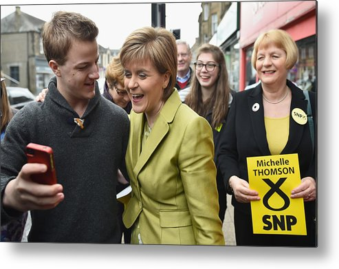Democracy Metal Print featuring the photograph SNP Leader Nicola Sturgeon Unveils An Anti-Austerity Plan To Boost the NHS by Jeff J Mitchell