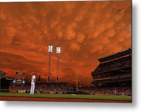 Great American Ball Park Metal Print featuring the photograph Starlin Castro by Jamie Sabau