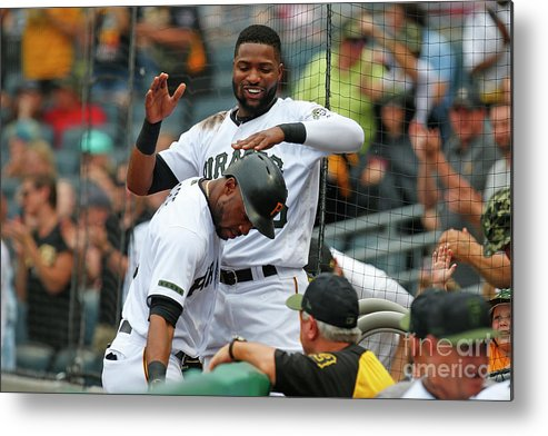 Three Quarter Length Metal Print featuring the photograph Starling Marte and Gregory Polanco by Justin K. Aller