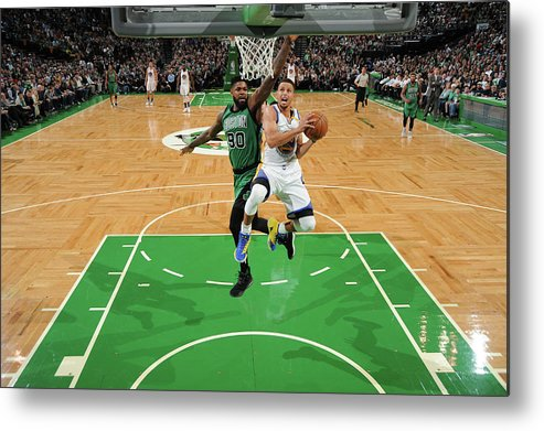 Nba Pro Basketball Metal Print featuring the photograph Stephen Curry and Gerald Green by Brian Babineau