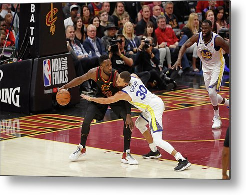 Playoffs Metal Print featuring the photograph Stephen Curry and Jeff Green by Mark Blinch
