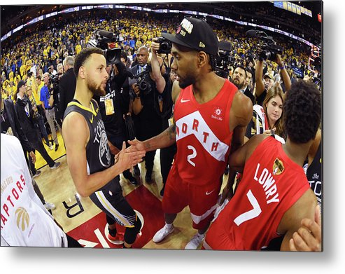 Playoffs Metal Print featuring the photograph Stephen Curry and Kawhi Leonard by Andrew D. Bernstein