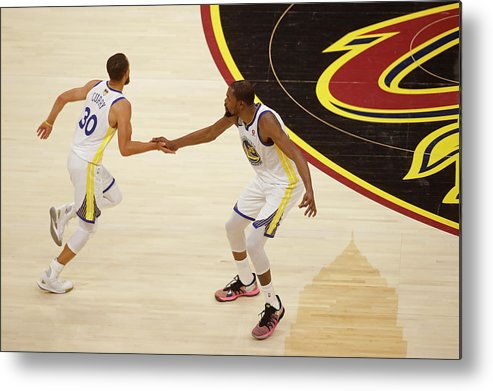 Playoffs Metal Print featuring the photograph Stephen Curry and Kevin Durant by Mark Blinch