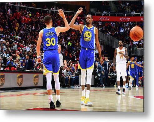 Atlanta Metal Print featuring the photograph Stephen Curry and Kevin Durant by Scott Cunningham