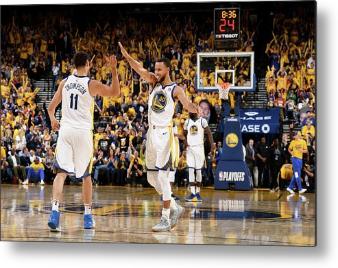 Playoffs Metal Print featuring the photograph Stephen Curry and Klay Thompson by Garrett Ellwood
