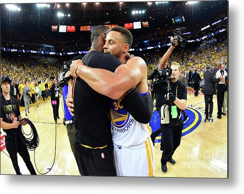 Playoffs Metal Print featuring the photograph Stephen Curry and Lebron James by Jesse D. Garrabrant