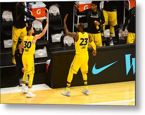 Atlanta Metal Print featuring the photograph Stephen Curry and Lebron James by Scott Cunningham