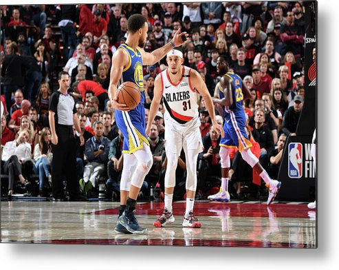 Nba Pro Basketball Metal Print featuring the photograph Stephen Curry and Seth Curry by Andrew D. Bernstein