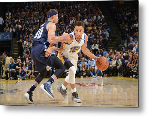 Nba Pro Basketball Metal Print featuring the photograph Stephen Curry and Seth Curry by Noah Graham