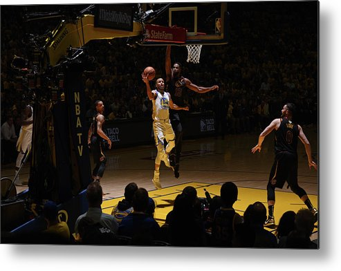 Playoffs Metal Print featuring the photograph Stephen Curry and Tristan Thompson by Garrett Ellwood