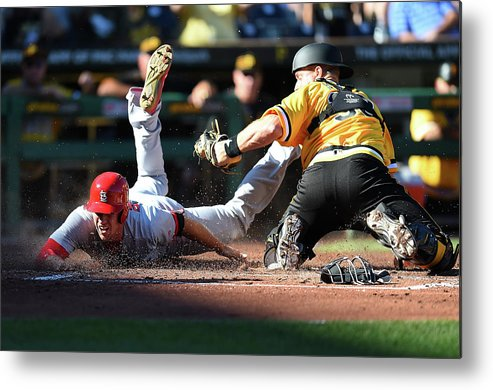 St. Louis Cardinals Metal Print featuring the photograph Stephen Piscotty and Erik Kratz by Joe Sargent
