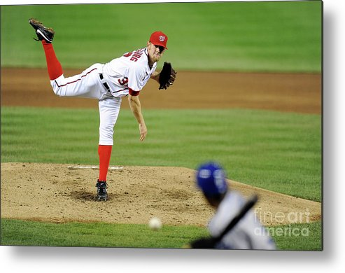 Stephen Strasburg Metal Print featuring the photograph Stephen Strasburg and Dee Gordon by Greg Fiume