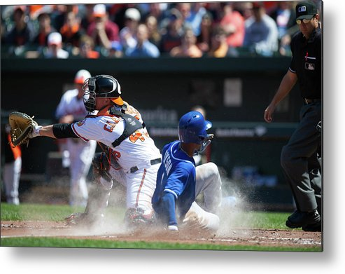 American League Baseball Metal Print featuring the photograph Steve Clevenger and Jarrod Dyson by Rob Tringali