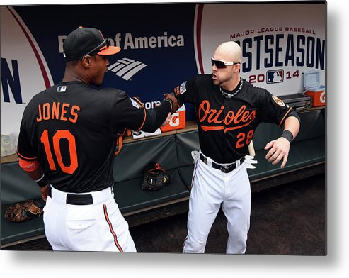 Game Two Metal Print featuring the photograph Steve Pearce and Adam Jones by Patrick Smith