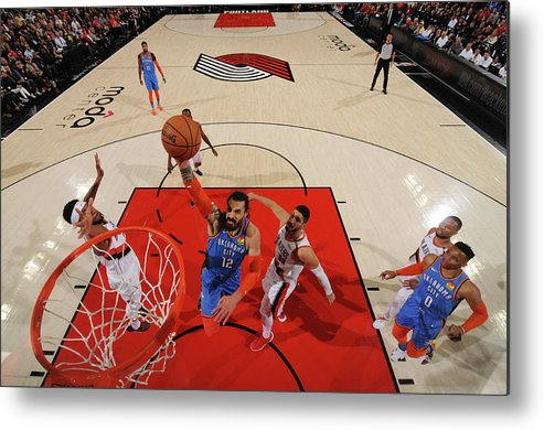 Playoffs Metal Print featuring the photograph Steven Adams and Enes Kanter by Cameron Browne