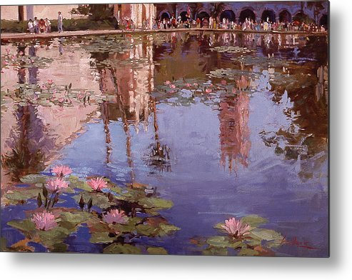 Water Lily Paintings Metal Print featuring the painting Sunday Reflections - Balboa Park by Betty Jean Billups