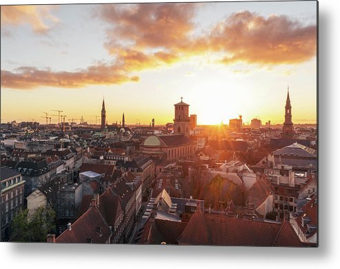 City Metal Print featuring the photograph Sunset above Copenhagen by Hannes Roeckel