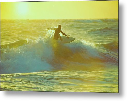 Surfing Metal Print featuring the mixed media Surfer in Glowing Sunlight by Steve DaPonte