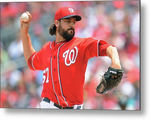 Baseball Pitcher Metal Print featuring the photograph Tanner Roark by Mitchell Layton