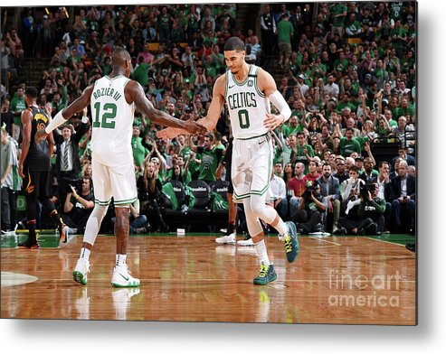 Playoffs Metal Print featuring the photograph Terry Rozier and Jayson Tatum by Brian Babineau