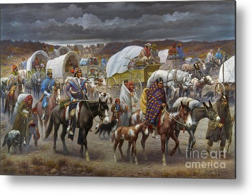 1838 Metal Print featuring the painting The Trail Of Tears by Granger