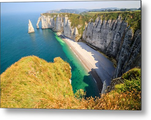 Shadow Metal Print featuring the photograph The white cliffs of Etretat, the alabaster coast by Frans Sellies