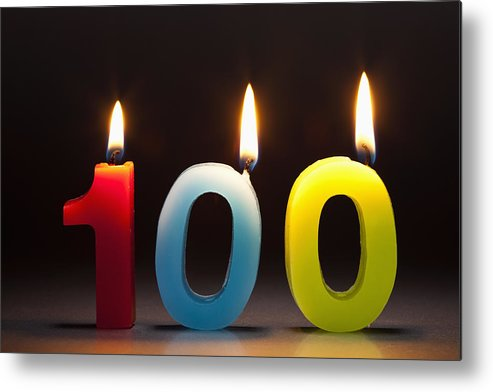 Celebration Metal Print featuring the photograph Three Candles In The Shape Of The Number 100 by Caspar Benson