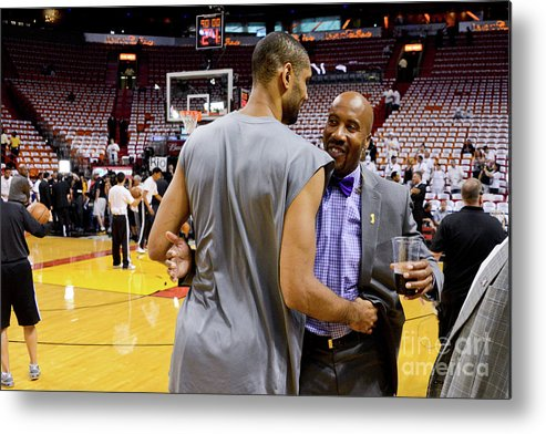 Playoffs Metal Print featuring the photograph Tim Duncan and Bruce Bowen by Noah Graham