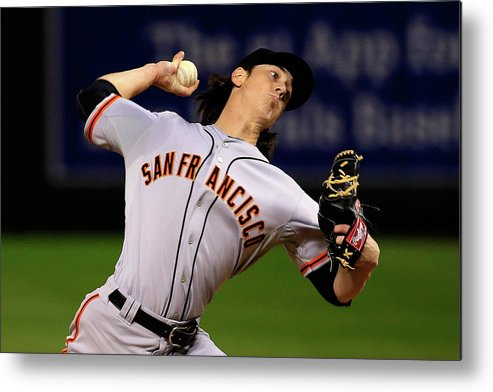 Game Two Metal Print featuring the photograph Tim Lincecum by Jamie Squire