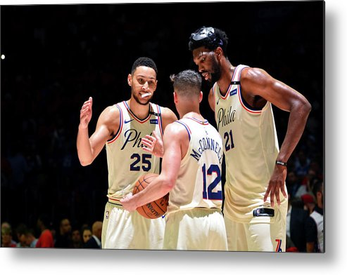 Playoffs Metal Print featuring the photograph T.j. Mcconnell, Ben Simmons, and Joel Embiid by Jesse D. Garrabrant