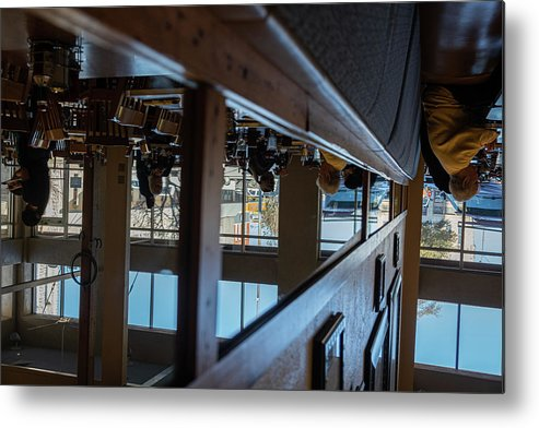 Reflections Eating Diner Food Mirror People Upside Down Metal Print featuring the photograph Tnarautser by Peyton Vaughn