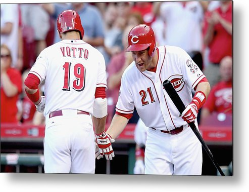 Great American Ball Park Metal Print featuring the photograph Todd Frazier And Joey Votto by Andy Lyons