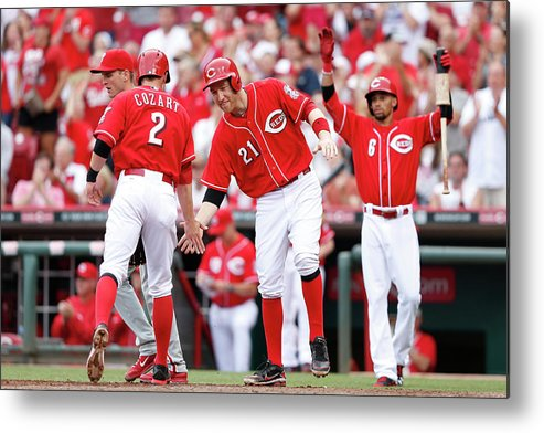 Great American Ball Park Metal Print featuring the photograph Todd Frazier, Homer Bailey, and Zack Cozart by Joe Robbins