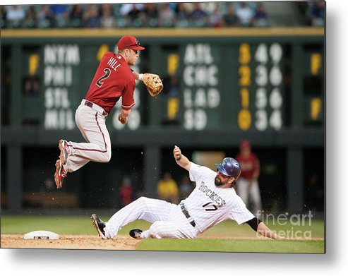 Double Play Metal Print featuring the photograph Todd Helton and Aaron Hill by Dustin Bradford