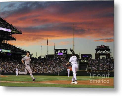 Todd Helton Metal Print featuring the photograph Todd Helton and Buster Posey by Doug Pensinger