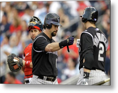 People Metal Print featuring the photograph Todd Helton and Troy Tulowitzki by Rob Carr