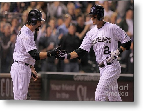 People Metal Print featuring the photograph Todd Helton, Clayton Kershaw, and Troy Tulowitzki by Doug Pensinger