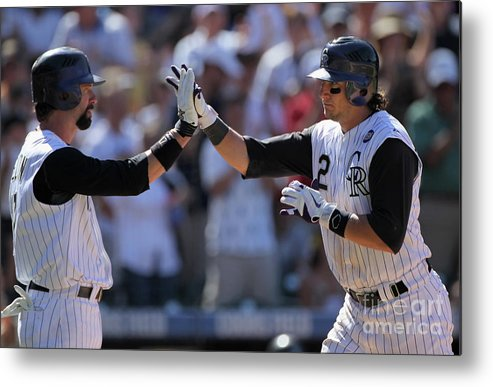 People Metal Print featuring the photograph Todd Helton, Troy Tulowitzki, and Bill Bray by Doug Pensinger