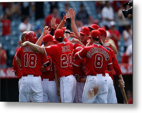 People Metal Print featuring the photograph Tom Wilhelmsen and Kole Calhoun by Joe Scarnici