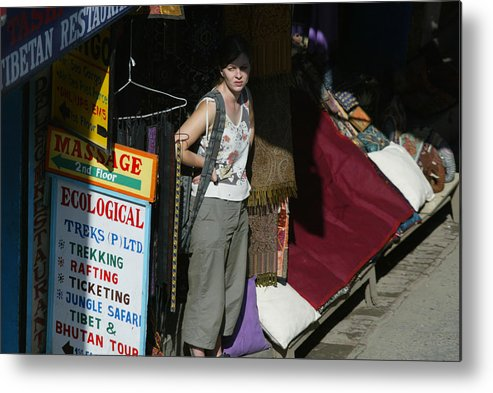 Thamel Metal Print featuring the photograph Tourist Area Of Kathmandu Unusually Quiet by Paula Bronstein