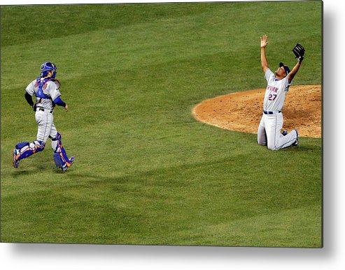 People Metal Print featuring the photograph Travis D'arnaud and Jeurys Familia by Jon Durr