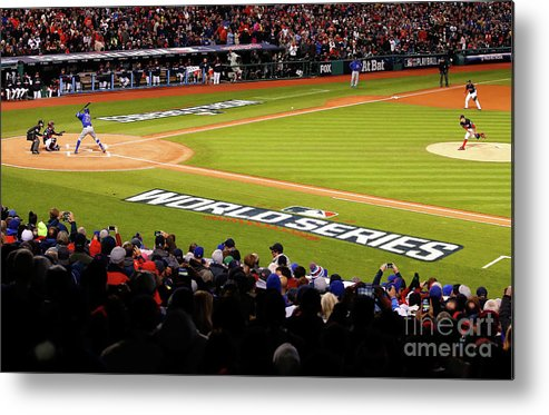 Game Two Metal Print featuring the photograph Trevor Bauer and Dexter Fowler by Gregory Shamus