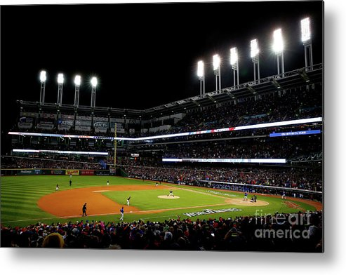 Game Two Metal Print featuring the photograph Trevor Bauer and Dexter Fowler by Jamie Squire