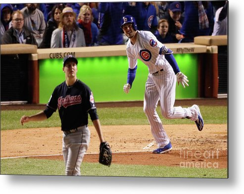 People Metal Print featuring the photograph Trevor Bauer and Kris Bryant by Jamie Squire