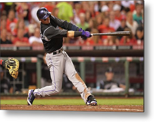 Great American Ball Park Metal Print featuring the photograph Troy Tulowitzki by Jamie Sabau