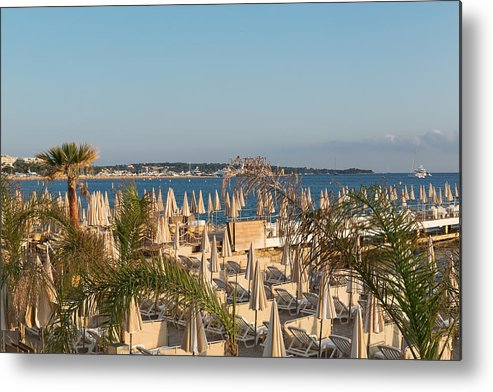 Chaise Longue Metal Print featuring the photograph Umbrellas and beach chairs on the beach, Cannes, French Riviera by Jean-Marc PAYET